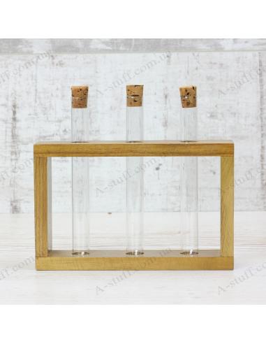 """Набор для специй """"3 пробирки"""" на деревянной подставке (орех)"""