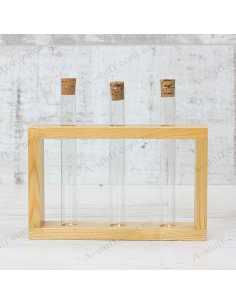 """Set for spices """"3 tubes"""" on a wooden stand (natural)"""