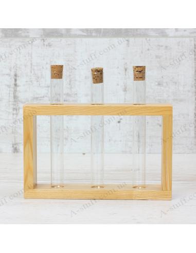 """Набор для специй """"3 пробирки"""" на деревянной подставке (натуральный)"""