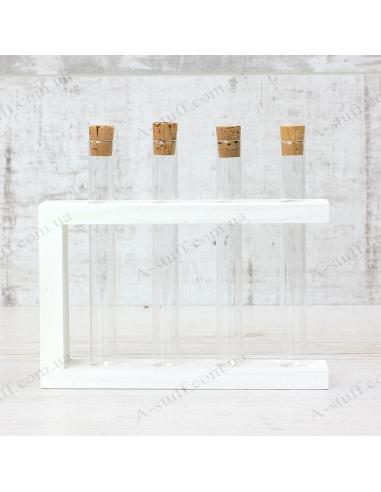 """Набор для специй """"4 пробирки"""" на деревянной подставке (белый)"""