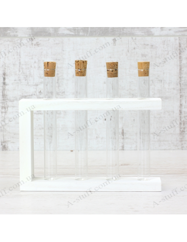 """Set for spices """"4 tubes"""" on a wooden stand (white)"""