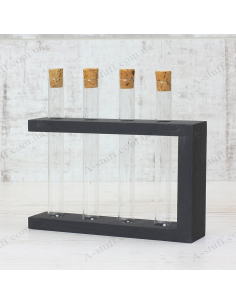 "Set for spices ""4 tubes"" on a wooden stand (black)"