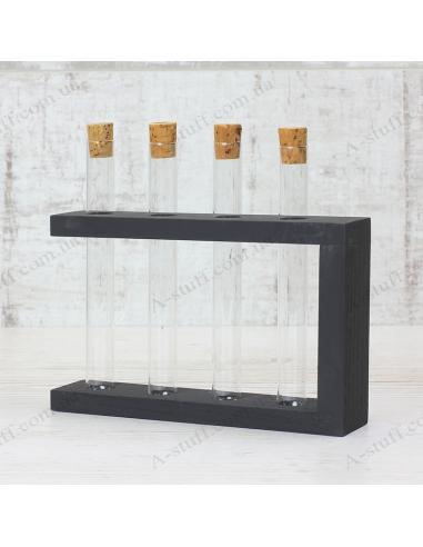 """Набор для специй """"4 пробирки"""" на деревянной подставке (чёрный)"""