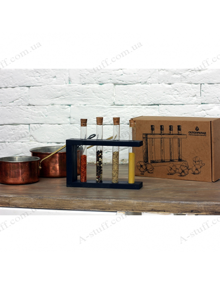 """Set for spices """"4 tubes"""" on a wooden stand (black)"""