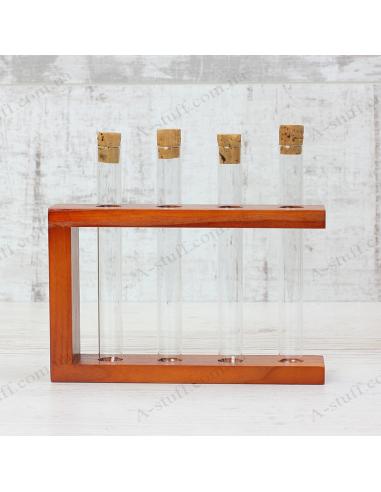 "Набор для специй ""4 пробирки"" на деревянной подставке (вишня)"
