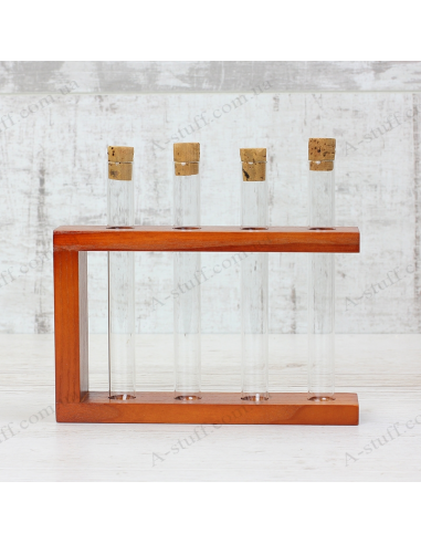 """Set for spices """"4 tubes"""" on a wooden stand (cherry)"""