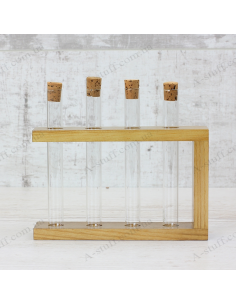 """Set for spices """"4 tubes"""" on a wooden stand (nut)"""