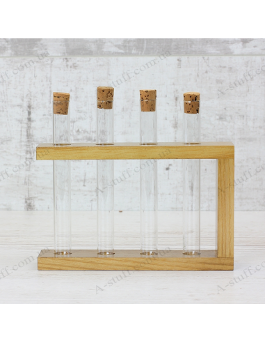 """Набор для специй """"4 пробирки"""" на деревянной подставке (орех)"""