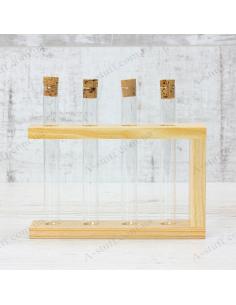 """Набор для специй """"4 пробирки"""" на деревянной подставке (натуральный)"""