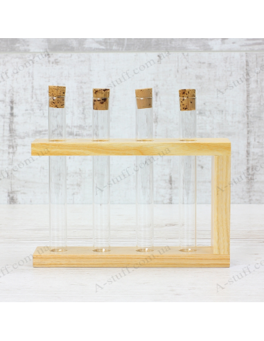 """Set for spices """"4 tubes"""" on a wooden stand (natural)"""