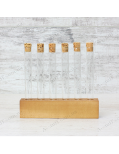 """A set for spices """"Tripod and 6 tubes"""" (walnut)"""