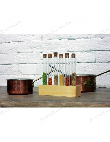 """A set for spices """"Tripod and 6 tubes"""" (natural)"""