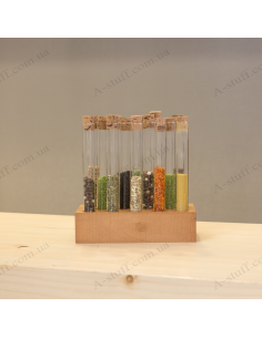 """A set for spices """"Tripod and 14 tubes"""" (walnut)"""