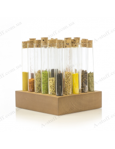 """A set for spices """"Tripod and 30 tubes"""" (walnut)"""