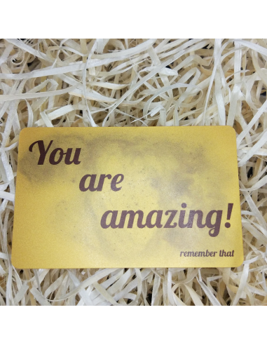 "Greeting card in the wallet ""You are amazing"""