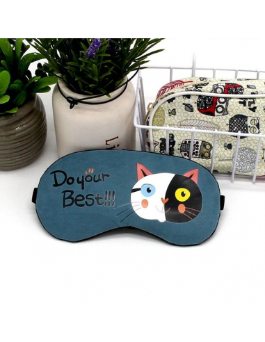 Sleep mask with gel inside Cat Do Your Best, blue