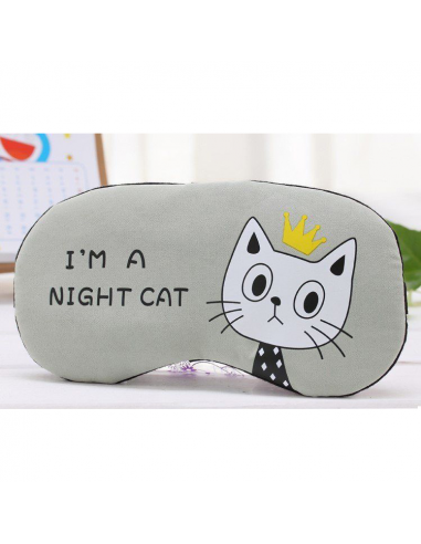 "Sleep mask with gel inside ""I'm a night cat,"" gray"