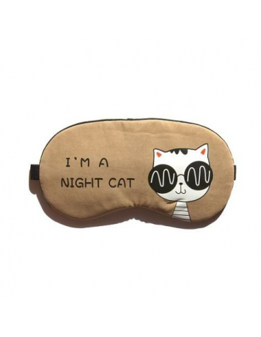 "Sleep mask with gel inside ""I'm a night cat,"" brown"