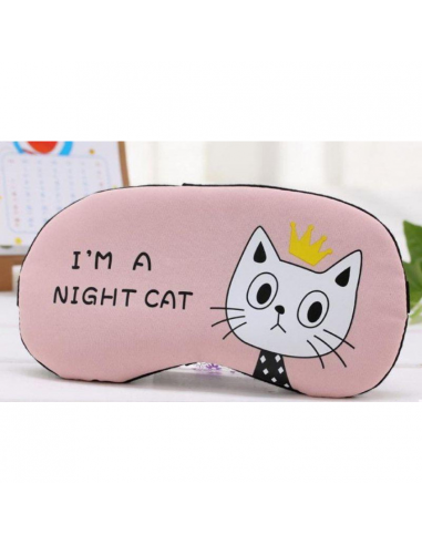 "Sleep mask with gel inside ""I am a night cat,"" pink"