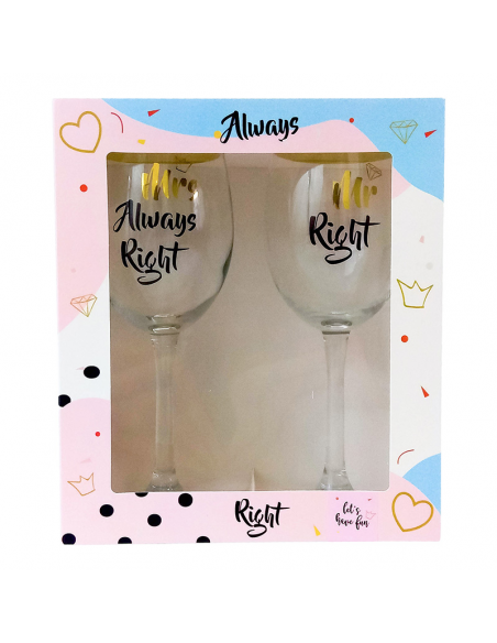 "Set of wine glasses ""MR + MRS"""