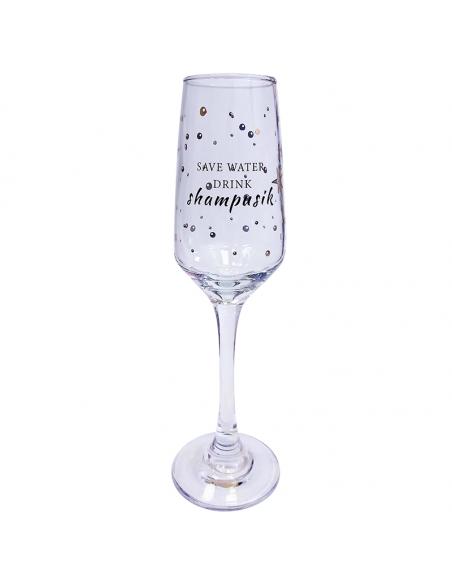 "Бокал для шампанского ""Save water drink shampusik"""