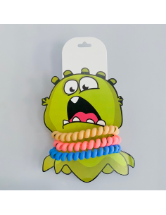 A set of bands for hair Monster green