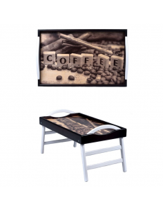 "Leg tray with handles ""Coffee"""