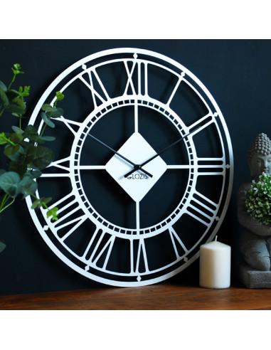 Metal wall clock London White