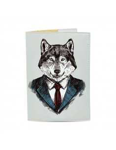 Passport cover Wolf in a suit