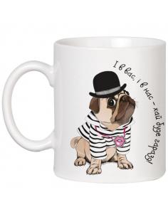 Cup of pug gentleman in a...