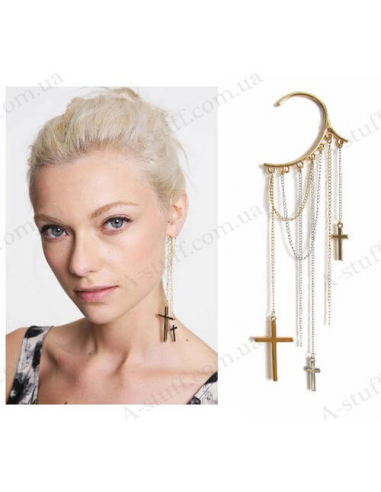 "Cuff Earring ""Crosses on chains"""