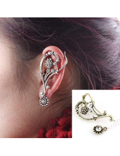 """Retro earring with cuff """"Wood berry"""""""