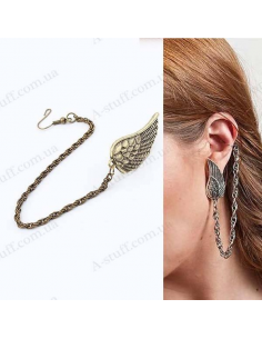 "Cuff earring with a chain ""Wing"""