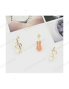 "Set of 3 earrings ""Music"""