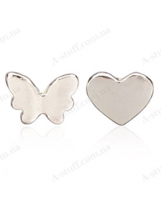 "Asymmetric earrings studs ""Butterfly and Heart"""
