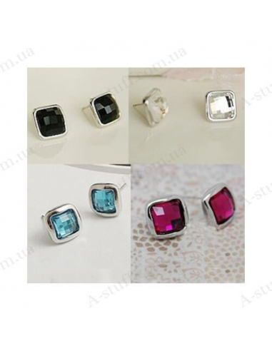"""Earring studs """"Square crystal"""""""
